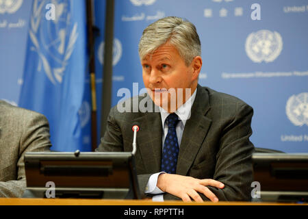 United Nations, UN headquarters in New York. 22nd Feb, 2019. Jean-Pierre Lacroix, United Nations Under-Secretary-General for Peace Operations, speaks during a press briefing at the UN headquarters in New York, on Feb. 22, 2019. Jean-Pierre Lacroix said Friday that the opportunity to bring peace back to the Central African Republic (CAR) is great. Credit: Li Muzi/Xinhua/Alamy Live News - Stock Photo