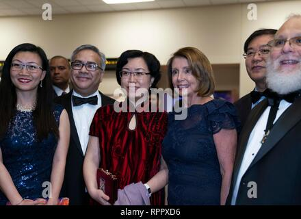 Speaker of the United States House of Representatives Nancy Pelosi poses at a cocktail party as an honored guest of the George Washington's Birthday celebration in the border city of Laredo, Texas. - Stock Photo