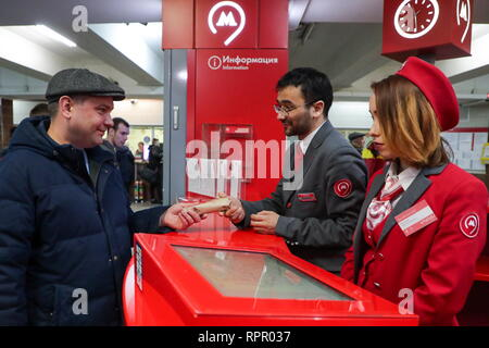 Moscow, Russia. 23rd Feb, 2019. Moscow Metro employees giving out socks to men at the Komsomolskaya station of the Moscow Metro on Defender of the Fatherland Day. Vyacheslav Prokofyev/TASS Credit: ITAR-TASS News Agency/Alamy Live News