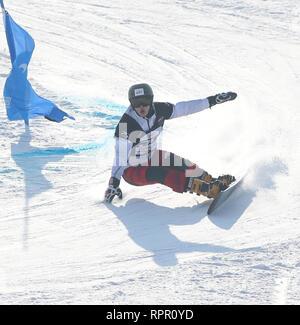 Zhangjiakou, China. 23rd Feb, 2019. Oskar Kwiatkowski of Poland competes during the men's Parallel Giant Slalom final of FIS Snowboard World Cup 2018-2019 in Zhangjiakou of north China's Hebei Province, on Feb. 23, 2019. Credit: Luo Yuan/Xinhua/Alamy Live News - Stock Photo