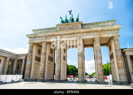 Berlin. Germany-May 31. 2017 : Brandenburg gate at sunny day in Berlin. Germany - Stock Photo