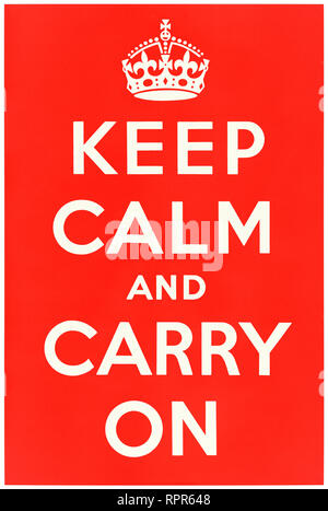 Keep Calm and Carry On (1939) poster designed by the Ministry of Information a United Kingdom central government department responsible for publicity and propaganda. See more information below. - Stock Photo
