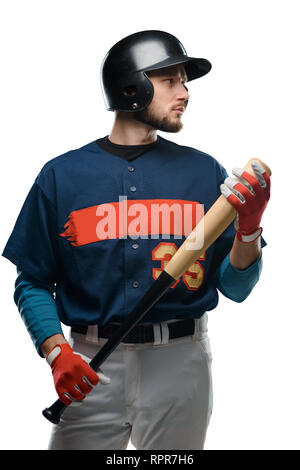 Baseball batter on white background - Stock Photo