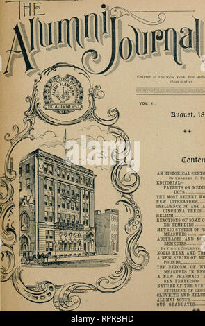 . The Alumni journal. College of Pharmacy of the City of New York; Pharmacology. # ?%*. Entered at the New York Post Office as second class matter. Hugust, 1895. Contents. AN HISTORICAL SKETCH OF POISONS 197 By Charles E. Pellew, K. M. EDITORIAL- PATENTS ON MEDICINAL PROD- UCTS 203 THE MOST RECENT WORK 205 NEW LITERATURE 206 INFLUENCE OF AGE AND SOIL ON CINCHONA TREES 207 HELIUM 208 REACTIONS OF SOME OF THE NEW- ER REMEDIES 209 METRIC SYSTEM OF WEIGHTS AND MEASURES 209 ABSTRACTS AND NOTES ON NEW REMEDIES - - 211 By Virgil Cohlentz. A. M., Ph. G.,Ph. D NOTES HEEE AND THERE 213 A NEW SFKIES OF N - Stock Photo