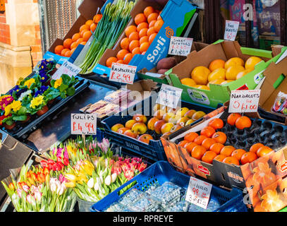 English village shop, Greengrocers shop display  in Market Place, Tickhill in the Metropolitan Borough of Doncaster in South Yorkshire, England, - Stock Photo