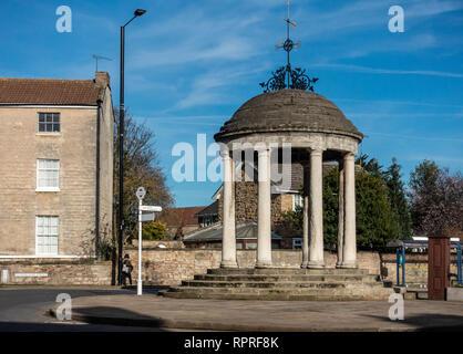English Village. The Buttercross monument in Market Place, Tickhill in the Metropolitan Borough of Doncaster in South Yorkshire, England, - Stock Photo