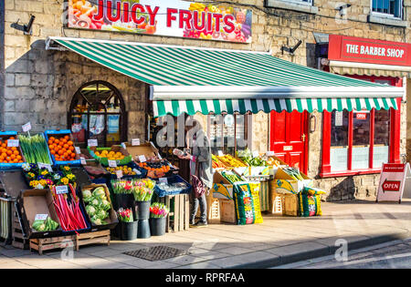 English village shop front, Greengrocers shop display  in Market Place, Tickhill in the Metropolitan Borough of Doncaster in South Yorkshire, England, - Stock Photo