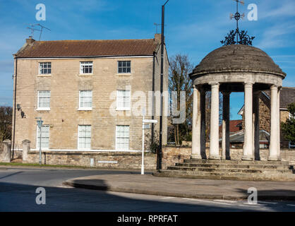 English Village The Buttercross monument in Market Place, Tickhill in the Metropolitan Borough of Doncaster in South Yorkshire, England, - Stock Photo