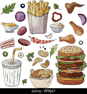 Set og hand drawn fast food elements. Vector doodle fast food isolated on white background - Stock Photo