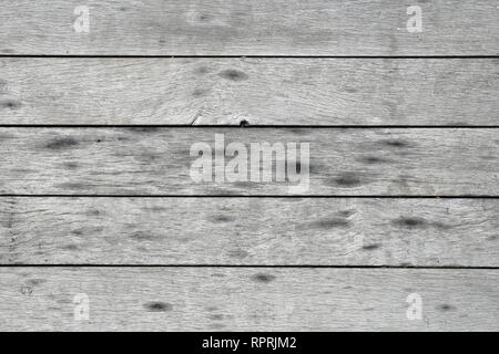 Texture of a wooden floor. Horizontal lines. The floor is gray color and there is some wet parts. Weathered surface. Closeup image. - Stock Photo