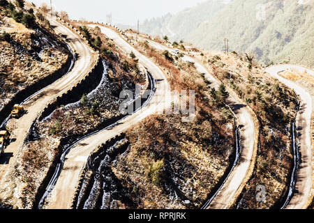 Zuluk hilltop the transit point of Silk Route. The road makes 32 hairpin turns. Located on rugged terrain of lower Himalaya in Sikkim. Historic Silk R - Stock Photo
