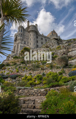 Castle and the rock gardens on St Michael's Mount in Cornwall, England, United Kingdom - Stock Photo