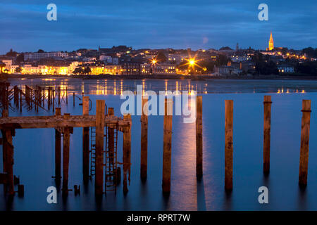 Seafront, Pier, Low tide, Parade, Church, Piles, sea, sand, Ryde, Isle of Wight, England, UK, - Stock Photo