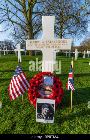 Harry Estabrooks. Cambridge American Cemetery near Madingley, Cambridgeshire, UK. Final resting place for thousands of US servicemen - Stock Photo