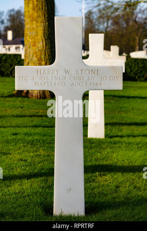 Harry Stone. Cambridge American Cemetery near Madingley, Cambridgeshire, UK. Final resting place for thousands of US servicemen - Stock Photo