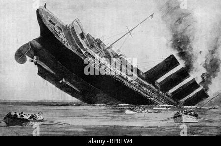 The Last of the Lusitania, May 7th, 1915. RMS Lusitania was a British ocean liner. The ship was sunk on 7 May 1915 by a German U-boat. The sinking presaged the United States declaration of war on Germany in 1917. - Stock Photo
