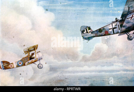 The Blind Spot: British Sopwith Camel and a German Hannover two-seater fighter, c1914. By Norman G. Arnold (1892–1963). Two WWI aircraft engaged in a dog-fight. - Stock Photo