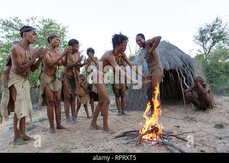 Bushmen of the San people singing and dancing traditional dances around the fire in front of the hut, Kalahari, Namibia, Africa - Stock Photo