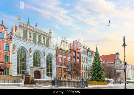 View on the Neptune's Fountain and the the Artus Court facade in Long Market, Gdansk, Poland, no people. - Stock Photo