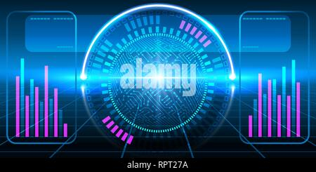 Fantastic HUD display with infographics, electronic circuit, graphs and round diagram. Futuristic interface. - Stock Photo