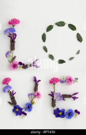 The word 'love' spelled out in flowers and foliage - Stock Photo