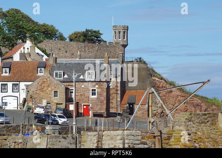 Small Medieval Harbour and Fishing Village of Crail, along the Fife Coast in Summer. Scotland, UK. - Stock Photo