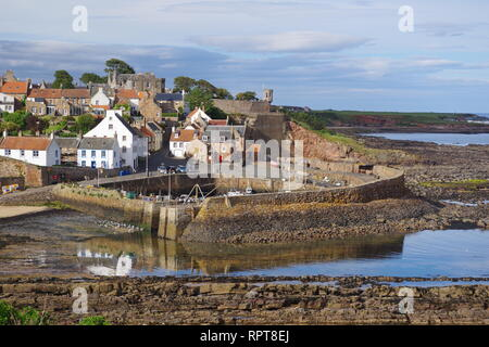 Small Medieval Harbour and Fishing Village of Crail, along the Fife Coast in the Golden Light of a Summer's Evening. Scotland, UK. - Stock Photo