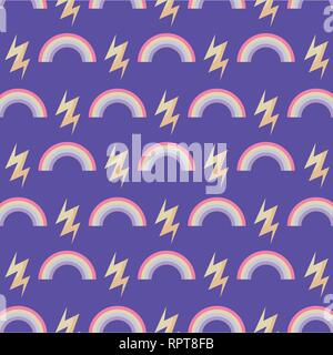 pattern of rainbow with thunderbolts vector illustration design - Stock Photo