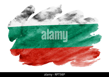 Bulgaria flag  is depicted in liquid watercolor style isolated on white background. Careless paint shading with image of national flag. Independence D - Stock Photo