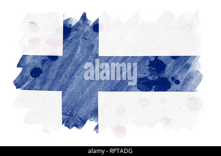 Finland flag  is depicted in liquid watercolor style isolated on white background. Careless paint shading with image of national flag. Independence Da - Stock Photo