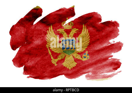 Montenegro flag  is depicted in liquid watercolor style isolated on white background. Careless paint shading with image of national flag. Independence - Stock Photo