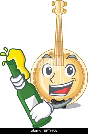 With beer miniature banjo in the cartoon shapes - Stock Photo