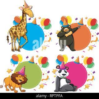Set of animal celebration concepts illustration - Stock Photo