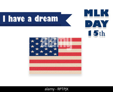 Martin Luther King Day illustration, I have a dream quote with USA flag waving. - Stock Photo