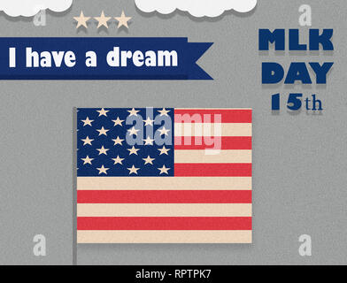 Martin Luther King Day illustration, I have a dream quote with USA flag waving flat design. - Stock Photo