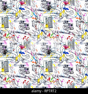 Black doodle on white paper with elements of red , blue and yellow color. Seamless ornament for textiles, wrapping paper, wallpaper. - Stock Photo