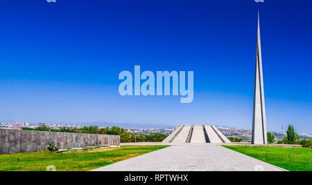 The Armenian Genocide memorial complex in Yerevan, Armenia - Stock Photo