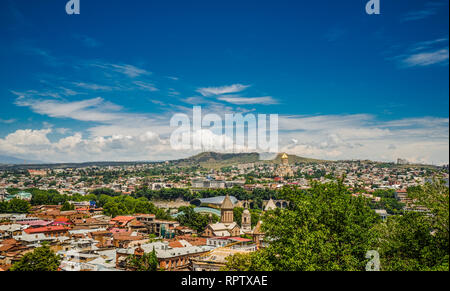Aerial view from the top on the roofs of the old city of Tbilisi, Georgia - Stock Photo