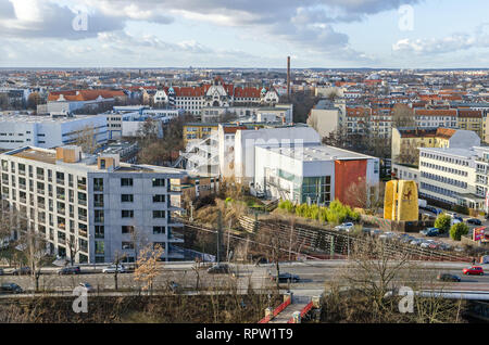 Berlin, Germany - February 11, 2019: View from the Flak tower Humboldthain over the district Gesundbrunnen with the Humboldsteg, Boettgerstrasse - Stock Photo