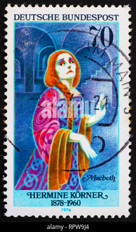 GERMANY - CIRCA 1976: a stamp printed in the Germany shows Hermine Korner as Lady Macbeth, German Actress, circa 1976 - Stock Photo