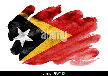Timor Leste flag  is depicted in liquid watercolor style isolated on white background. Careless paint shading with image of national flag. Independenc - Stock Photo