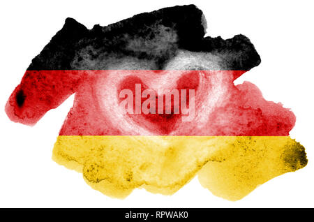 Germany flag  is depicted in liquid watercolor style isolated on white background. Careless paint shading with image of national flag. Independence Da - Stock Photo