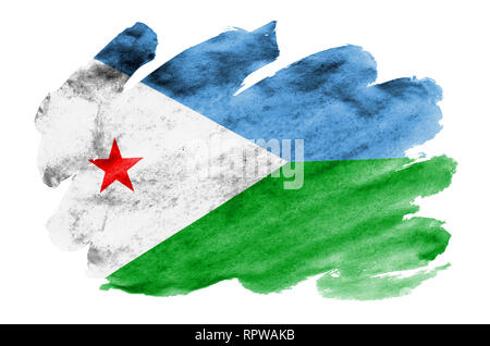 Djibouti flag  is depicted in liquid watercolor style isolated on white background. Careless paint shading with image of national flag. Independence D - Stock Photo