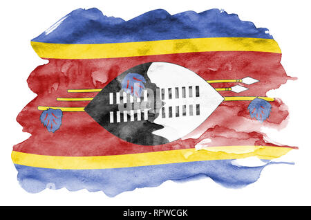 Swaziland flag  is depicted in liquid watercolor style isolated on white background. Careless paint shading with image of national flag. Independence  - Stock Photo