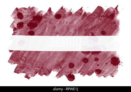 Latvia flag  is depicted in liquid watercolor style isolated on white background. Careless paint shading with image of national flag. Independence Day - Stock Photo