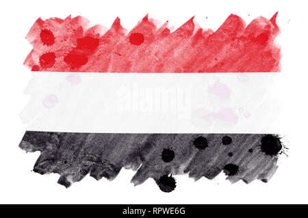 Yemen flag  is depicted in liquid watercolor style isolated on white background. Careless paint shading with image of national flag. Independence Day  - Stock Photo