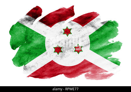 Burundi flag  is depicted in liquid watercolor style isolated on white background. Careless paint shading with image of national flag. Independence Da - Stock Photo
