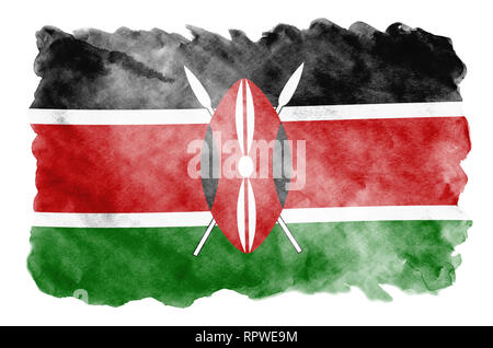Kenya flag  is depicted in liquid watercolor style isolated on white background. Careless paint shading with image of national flag. Independence Day  - Stock Photo