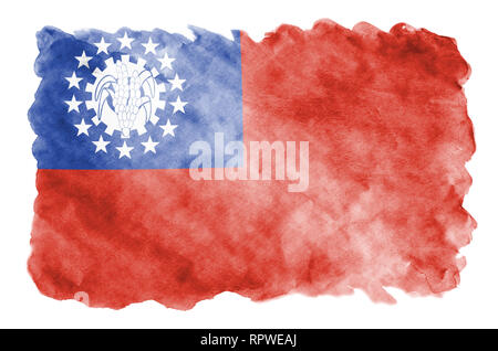 Myanmar flag  is depicted in liquid watercolor style isolated on white background. Careless paint shading with image of national flag. Independence Da - Stock Photo