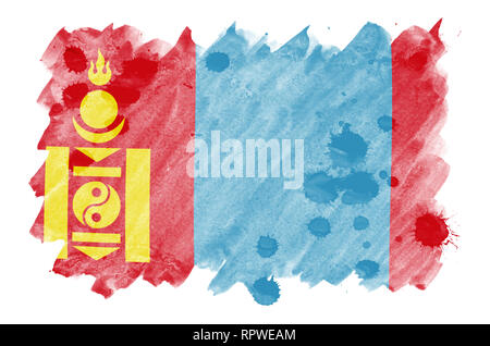 Mongolia flag  is depicted in liquid watercolor style isolated on white background. Careless paint shading with image of national flag. Independence D - Stock Photo